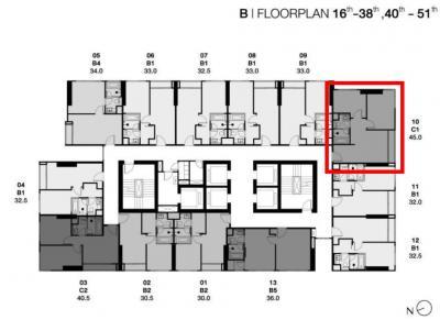 Sale DownCondoSukhumvit, Asoke, Thonglor : Park Thonglor C4810 2-bed, corner room, very high floor, river view, price around VIP.