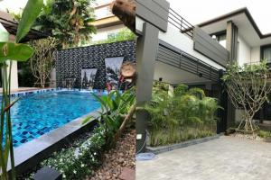 For RentHouseSukhumvit, Asoke, Thonglor : For Rent house for rent, new house, area 121 square meters, Soi Pridi Banomyong 14, Sukhumvit 71, Modern style with swimming pool in the house House for Rent at Sukhumvit 71 Soi PridiPanomyong 14 and private swimming pool