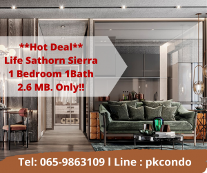 For SaleCondoThaphra, Wutthakat : 🔥 Life Sathorn Sierra 🔥 150 meters to BTS Talat Phlu, 1 bedroom, 1 bathroom, only 2.6 million baht 🩸 Free multiple discounts. From the project 📞Tel: 065-9863109