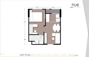 ขายดาวน์คอนโดบางนา แบริ่ง : [Owner] ขายดาวน์ Nue Noble Centre Bangna ตึก A ชั้น 6 ห้อง A11