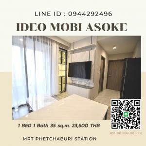 For RentCondoRama9, RCA, Petchaburi : ⭐️ New room, ready to move in, Ideo mobi asoke, 1 bedroom, very beautiful decoration, fully furnished, garden view 🚇 Mrt Phetchaburi, SWU ⭐️