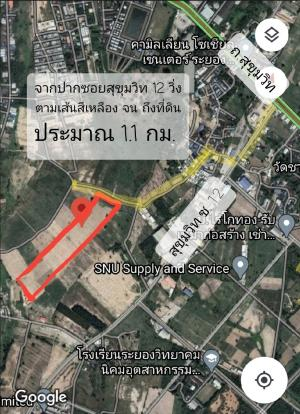 For SaleLandRayong : Land for sale 36 rai - 130 rai, Soi Sukhumvit 12, Huay Pong Subdistrict, Mueang Rayong District, 16 km from U-Tapao Airport.