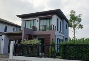 For RentHouseRamkhamhaeng Nida, Seri Thai : 2 storey detached house for rent, AQUA DIVINA RAMKHAMHAENG 94 house, new condition, big house, fully furnished, 4 air conditioners, residential only