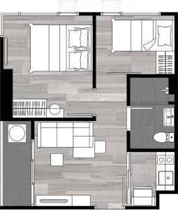 ขายดาวน์คอนโดลาดพร้าว101 แฮปปี้แลนด์ : ขายดาวน์ The Origin ladprao 111 ห้องใหญ่ ขนาด 34 ตร.เมตร (Bedroom Plus) ชั้น 8 วิวสวนส่วนกลาง