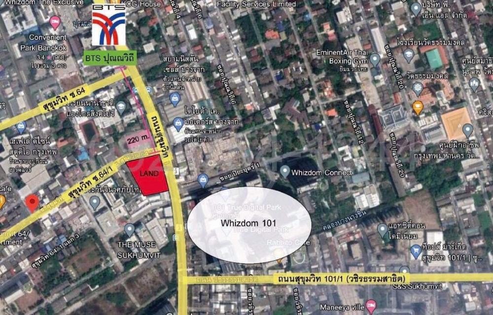 For SaleLandSukhumvit, Asoke, Thonglor : Land for sale beautiful 📍 next to Sukhumvit 64/1 road, area 3-0-20 rai