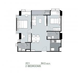 ขายดาวน์คอนโดปิ่นเกล้า จรัญสนิทวงศ์ : ขายดาวน์ ศุภาลัย ปาร์ค สามแยกไฟฉาย 2ห้องนอน  64.5ตร.ม. ชั้น15 ตึก B