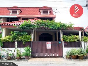 For SaleTownhouseSamrong, Samut Prakan : 2 storey townhouse for sale, behind the corner of the village, Den Chai Mangkon - Khandee Praksa, Samut Prakan