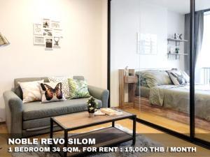 For RentCondoSathorn, Narathiwat : FOR RENT NOBLE REVO SILOM / 1 bedroom / 34 Sqm.**15,000** SUPER DEAL. Fully Furnished. CLOSE BTS SURASAK
