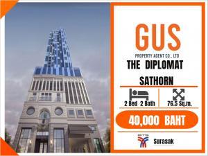 For RentCondoSathorn, Narathiwat : ห้ามพลาด! !! ของดีมีมาไม่บ่อย ห้อง2นอน ราคาเลิศสุด พร้อมเข้าอยู่ ที่ The Diplomat Sathorn