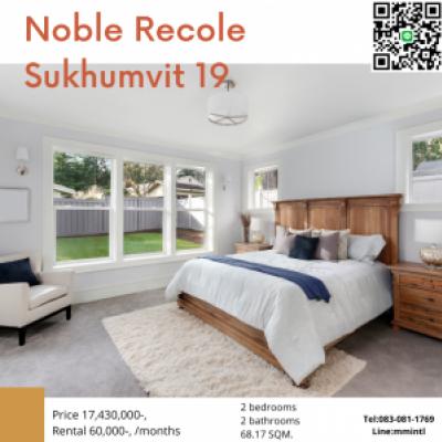 For SaleCondoSukhumvit, Asoke, Thonglor : Noble Recole Sukhumvit 19 * a fully furnished condo located in the heart of Sukhumvit 19, close to Asoke BTS and MRT Sukhumvit, close to Asoke BTS Interchange Station and Sukhumvit MRT.