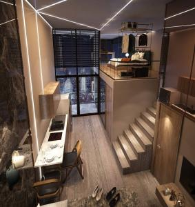 Sale DownCondoThaphra, Wutthakat : Sales down [ready at the end of 2021] - Loft room, pool view, north - plus complete electrical appliances.