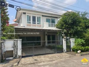 For SaleHouseRamkhamhaeng, Hua Mak : Urgent sale, 2-storey detached house, Manthana Village, Rama 9 - Srinakarin, near Airport Link, Huamark, Ramkhamhaeng District, Krungthep Kreetha, Bangkapi