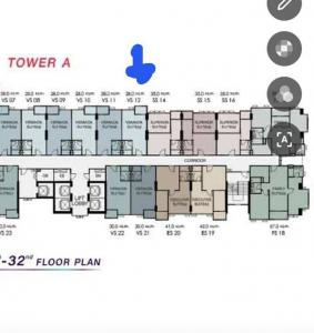 Sale DownCondoRamkhamhaeng, Hua Mak : Sale down payment (preemption) Condo Supalai Veranda Ramkhamhaeng, near the office, the most 😊Tower A / 28 sqm. 9th floor, Feng Shui good, balcony protruding, not attached to anyone, both floors, 360-degree views of the gods, with Panoramic Sky Bar at Tow