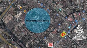 For SaleLandRamkhamhaeng, Hua Mak : Urgent sale, vacant land on Ramkhamhaeng Road, only 75,000 per square wah.