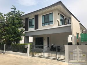 For RentHouseBangbuathong, Sainoi : 2 storey detached house for rent, brand new, 3 bedrooms, 3 bathrooms, 2 car parking, Modi Villa Chaiyapruek, Phimon Rat Subdistrict, Bang Bua Thong District, Nonthaburi Province