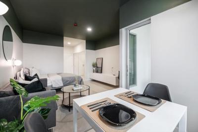 For RentCondoOnnut, Udomsuk : (Code A10056403) For rent, Aspace sukhumvit 77, size 37.5 sq m. Building B, C, 1st floor, next to a small garden.