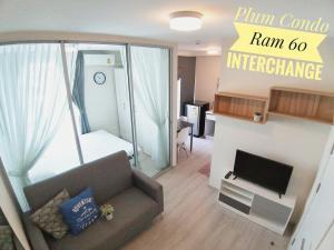 For RentCondoRamkhamhaeng, Hua Mak : For rent, Plum Condo Ramkhamhaeng 60 Interchange, Soi Ramkhamhaeng 60, beautiful room, new decoration 🌟