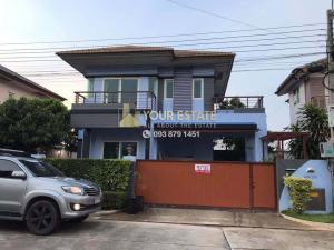 For RentHouseLadkrabang, Suwannaphum Airport : House for rent with furniture. Spacious area - Burasiri Village, Ring Road On Nut - Kanchanaphisek 61, 3 bedrooms 52 sq m.