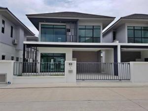 For RentHouseRamkhamhaeng Nida, Seri Thai : Code BM24 2 storey detached house for rent, modern style, Aura Luxe Village, Ramkhamhaeng Road, Soi 94.