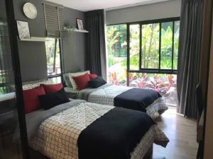 เช่าคอนโดรังสิต ธรรมศาสตร์ ปทุม : คอนโดให้เช่า KAVE Town Space 💥ห้องใหญ่ แบบ 2 เตียง วิวสวน💥เดินนิดเดียวถึง ม.กรุงเทพ ห้องใหญ่ Full furnished เครื่องใช้ไฟฟ้าครบพร้อมอยู่ ลากกระเป๋าเข้าอยู่ได้เลย ขนาด 29 ตร.ม. ตึก A ชั้น 1 ห้อง 1 Bedroom💰ราคาเช่า : 14,000 บาท / เดือน
