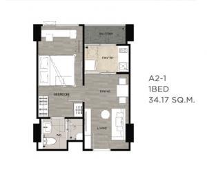 For SaleCondoSamrong, Samut Prakan : The Niche Mono, BTS Pu Chao, 1 bedroom, closed kitchen, beautiful, starting at 2.32 million.