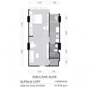 ขายคอนโดปิ่นเกล้า จรัญสนิทวงศ์ : For Sale Supalai Loft Yaek Fai Chai Station (46.5 sqm.)