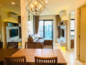 For RentCondoRama9, RCA, Petchaburi : For rent Life Asoke (MRT Phetchaburi and Airport Link) 2Beds 2Baths 55 sq.m. 24th floor Corner Unit, Clear View.