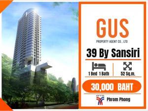 For RentCondoSukhumvit, Asoke, Thonglor : HOT DEAL!! For Rent at **39bysansiri**Close to BTS Phrom Phong Fully Furnished 1Bed 52Sq.m. @32,000 THB/BAHT