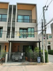 For RentTownhouseSamrong, Samut Prakan : Townhome for rent corner house with some furniture near BTS Samrong - The Canvas Village, Sukhumvit, Samrong -