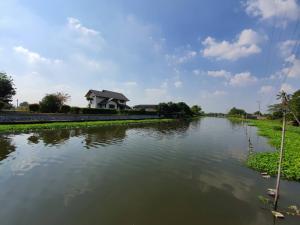 For SaleLandRama5, Ratchapruek, Bangkruai : 📢 Land for sale, wide frontage, waterfront
