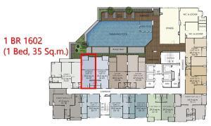 Sale DownCondoWongwianyai, Charoennakor : Cheap down payment, 1 BR room, swimming pool position, 16th floor, hot position, presale price