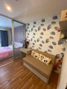 For RentCondoLadkrabang, Suwannaphum Airport : Garden view room for rent, high floor, 27 sqm #V Condo Ladkrabang (V condo Ladkrabang), Chalongkrung Road, near Techno Lat Krabang In front of Ladkrabang Industrial Estate, fully furnished