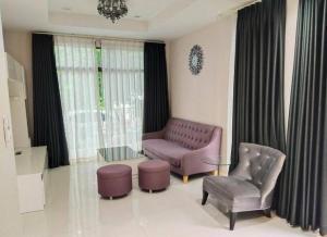 For RentHouseRamkhamhaeng Nida, Seri Thai : 2 storey detached house for rent, Ramkhamhaeng 94, Aura Lux village, 3 bedrooms, fully furnished.