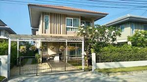 เช่าบ้านสำโรง สมุทรปราการ : RHT513ให้เช่าบ้านเดี่ยว2 ชั้น หน้าบ้านติดสวน บ้านคณาสิริ บางนา
