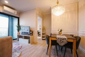For RentCondoRama9, RCA, Petchaburi : For rent, 2 bedrooms, 1 bathroom, 18th floor, beautiful room, good view, good house number