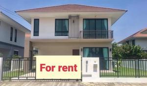 For RentHouseRangsit, Patumtani : 2 storey detached house for rent, Khlong 7, Thanyaburi, fully furnished, air conditioner