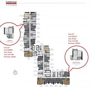 ขายดาวน์คอนโดพระราม 9 เพชรบุรีตัดใหม่ RCA : A22B430 แบบ 1 ห้องนอน 32 ตรม. ชั้น 22 ราคา 125,550 บ/ตรม