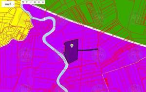 For SaleLandSamrong, Samut Prakan : Land for sale, dark purple area, size 46-3-89.3 rai, public road 14 meters wide.