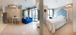 เช่าคอนโดพระราม 9 เพชรบุรีตัดใหม่ : ปล่อยเช่าห้องสวย Ideo Mobi พระราม 9 ห้องเลขดี ตกแต่งครบ เฟอร์เลิศ ติดวอลเปเปอร์ทั้งห้อง ใกล้ MRT