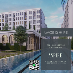 For SaleCondoRatchadapisek, Huaikwang, Suttisan : The last room!! ASPIRE Asoke-Ratchada Condo near MRT Rama 9 and Central Rama 9, large central area, NEW LUXE CLASSIC, English style