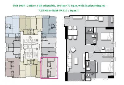 Sale DownCondoSilom, Saladaeng, Bangrak : 🔥 98,500 baht per sq.m. : Unit 1007, area 73 sq.m., 10th floor, east/south corner room, can be converted to 3 bedrooms 🔥 and get a fix parking lot