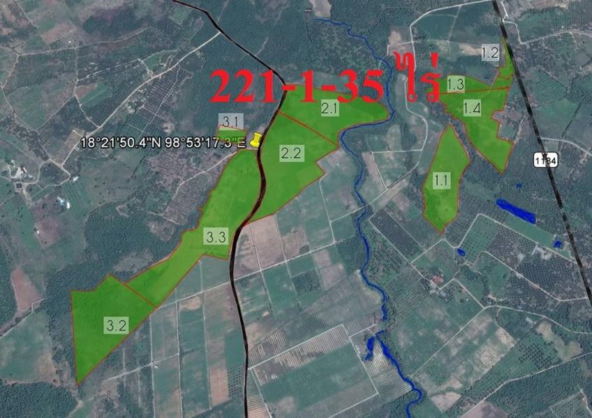 For SaleLandLamphun : Land for sale, Nakhon Chedi Subdistrict, Pa Sang District, Lamphun Subdistrict, 221 rai, good water, good soil, with electricity, next to the road, 300,000 baht per rai.