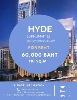 For RentCondoNana, North Nana,Sukhumvit13, Soi Nana : 🏢 Luxury project, very good price, Hyde Sukhumvit 13, 110 Sq.m., Price 60,000 baht/month