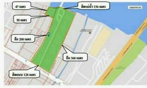 For SaleLandRathburana, Suksawat : Land for sale 26 rai, next to the Chao Phraya River, 156 meters, in front of Rat Burana Road, 128 meters.