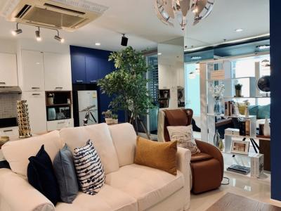 For RentCondoSukhumvit, Asoke, Thonglor : Condo for rent, Sukhumvit Living Town, next to Asoke Road, near MRT Phetchaburi, Asoke Pier, fully furnished.