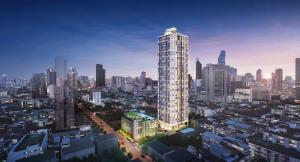 Sale DownCondoSilom, Saladaeng, Bangrak : Sale down payment Supalai-Premier-Si Phraya, room 80 sqm, 2 bed 2 bath rooms, 32nd floor, north corner room, unblocked view, price 9,266,125 baht
