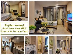 For RentCondoRama9, RCA, Petchaburi : Rhythm Asoke 2 Studio, pool view, sample room, beautiful decoration, excellent condition