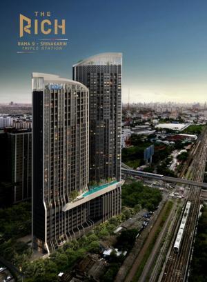Sale DownCondoPattanakan, Srinakarin : Down payment sale, The Rich Condo Rama 9 Srinakarin, loft room, 26th floor, total area size 36.85 sq m. Down payment 450,000 baht.