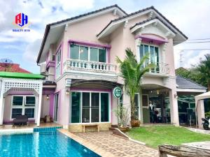 For RentHouseMin Buri, Romklao : Tararom single house for rent, Ramkhamhaeng 150, with swimming pool, 4 bedrooms, 4 bathrooms, 108 square meters, near the train station