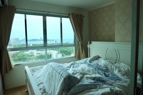For RentCondoPattaya, Bangsaen, Chonburi : Urgent for rent, special price, sea view room, high floor, very beautiful view Lpn naklue wongamart